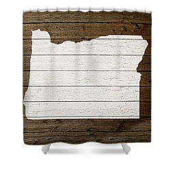 Map Of Oregon State Outline White Distressed Paint On Reclaimed Wood Planks Shower Curtain