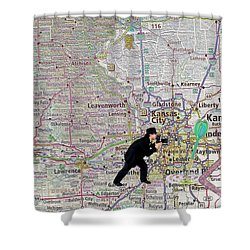Map Overland Park Kansas Shower Curtain by Liane Wright