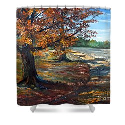 Maple Lane Shower Curtain by Lee Piper