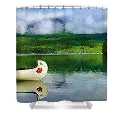 Maple Leaf Canoe On Pyramid Lake Shower Curtain by Teresa Zieba