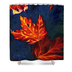 Shower Curtain featuring the painting Maple Leaves In Autumn by MM Anderson