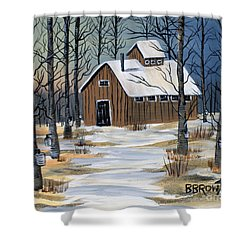 Shower Curtain featuring the painting Maple Syrup Shack by Brenda Brown