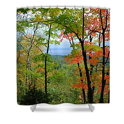 Shower Curtain featuring the photograph Maples Against Lake Superior - Tettegouche State Park by Cascade Colors