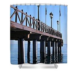 Marbella Pier Spain Shower Curtain by Clare Bevan