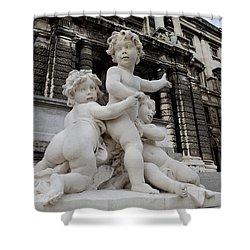 Marble Cherub And Angels Statue Vienna Austria Shower Curtain by Imran Ahmed