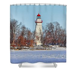 Marblehead Lighthouse In Winter Shower Curtain