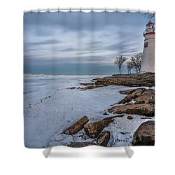 Marblehead Lighthouse  Shower Curtain by James Dean