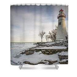 Marblehead Lighthouse Winter Shower Curtain by James Dean