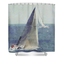 Marblehead To Halifax Ocean Race Shower Curtain by Jeff Folger