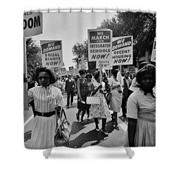 March For Equality Shower Curtain by Benjamin Yeager
