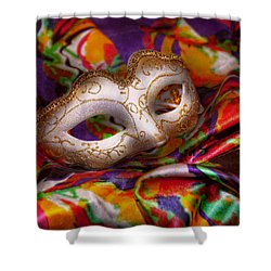 Mardi Gras - Celebrating Mardi Gras  Shower Curtain by Mike Savad