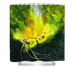 Shower Curtain featuring the painting Mardi Gras On Green by Alys Caviness-Gober