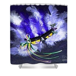 Shower Curtain featuring the painting Mardi Gras On Purple by Alys Caviness-Gober