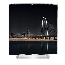 Shower Curtain featuring the photograph Margaret Hunt Hill Bridge And Dallas Skyline In Infrared by Todd Aaron