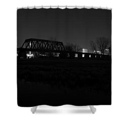 Margaret Hunt Hill Bridge Dallas Skyline Black And White Shower Curtain by Jonathan Davison