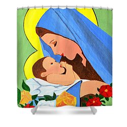Maria And Baby Jesus Shower Curtain by Magdalena Frohnsdorff
