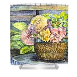 Marias Basket Of Peonies Shower Curtain