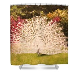 Maria's White Peacock Shower Curtain