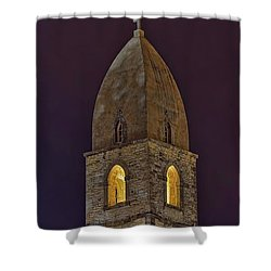 Marienkirche At Night Shower Curtain by Gary Holmes