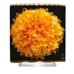 Shower Curtain featuring the painting Marigold Magic Abstract Flower Art by Omaste Witkowski
