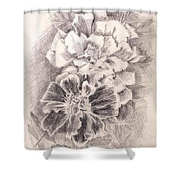 Shower Curtain featuring the painting Marigolds by Linda Feinberg