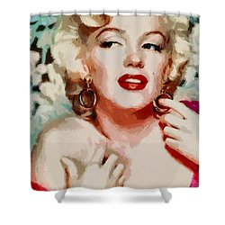 Marilyn Monroe In Red Dress Shower Curtain