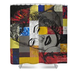 Shower Curtain featuring the painting Marilyn In Abstract by Malinda  Prudhomme