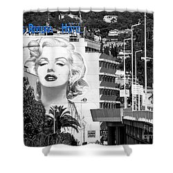 Shower Curtain featuring the photograph Marilyn In Cannes by Jennie Breeze