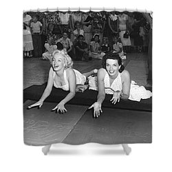 Marilyn Monroe And Jane Russell Shower Curtain by Underwood Archives