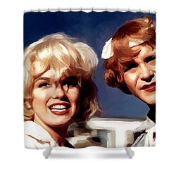 Marilyn Monroe And Jack Lemon Portrait Shower Curtain