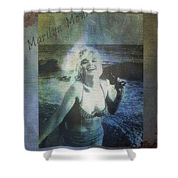 Shower Curtain featuring the digital art Marilyn Monroe At The Beach by Absinthe Art By Michelle LeAnn Scott
