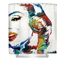Shower Curtain featuring the painting Marilyn Monroe Painting - Bombshell - By Sharon Cummings by Sharon Cummings
