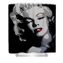 Marilyn Monroe Red Lips Shower Curtain by Marisela Mungia