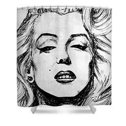 Shower Curtain featuring the painting Marilyn Monroe by Salman Ravish