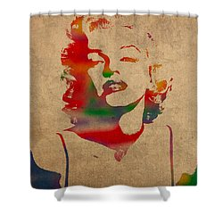 Marilyn Monroe Watercolor Portrait On Worn Distressed Canvas Shower Curtain by Design Turnpike