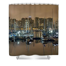 Marina Along Stanley Park In Vancouver Bc Shower Curtain by David Gn