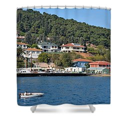 Marina Bay Scene With Boat And Houses On Hills Shower Curtain by Imran Ahmed