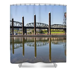 Shower Curtain featuring the photograph Marina By Willamette River In Portland Oregon by JPLDesigns