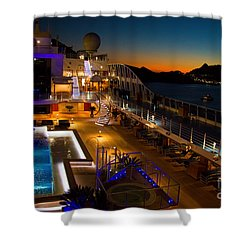 Marina Cruise Ship Pool Deck At Dusk Shower Curtain by David Smith