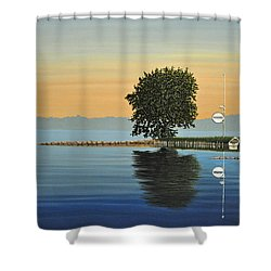 Marina Morning Shower Curtain by Kenneth M  Kirsch