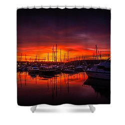 Marina Sunset Shower Curtain by Dawn OConnor