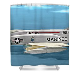 Marine F-4 Phantom  Painting Shower Curtain by Bob and Nadine Johnston