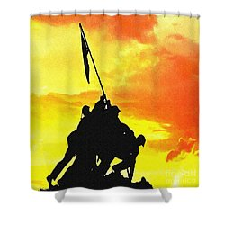 Marine Iwo Jima Memorial Dc Shower Curtain by Bob and Nadine Johnston