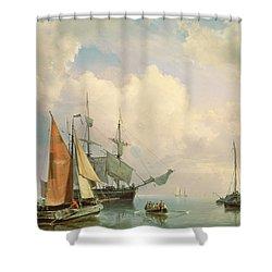 Marine  Shower Curtain by Johannes Hermanus Koekkoek