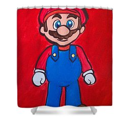 Shower Curtain featuring the painting Mario by Marisela Mungia