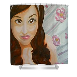 Shower Curtain featuring the painting Marisela by Marisela Mungia