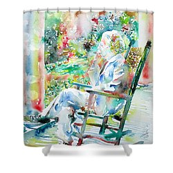 Mark Twain Sitting And Smoking A Cigar - Watercolor Portrait Shower Curtain by Fabrizio Cassetta