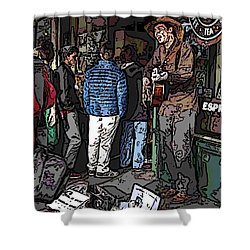 Market Busker 7 Shower Curtain by Tim Allen