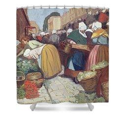 Market In Brest Shower Curtain by Fernand Piet