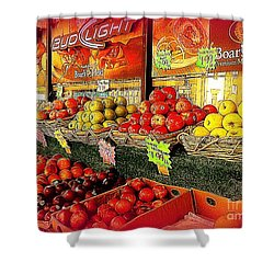 Shower Curtain featuring the photograph Apples And Plums In Red - Outdoor Markets Of New York City by Miriam Danar